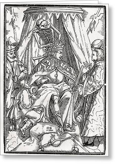Death Comes For The Emperor Woodcut By Greeting Card by Vintage Design Pics