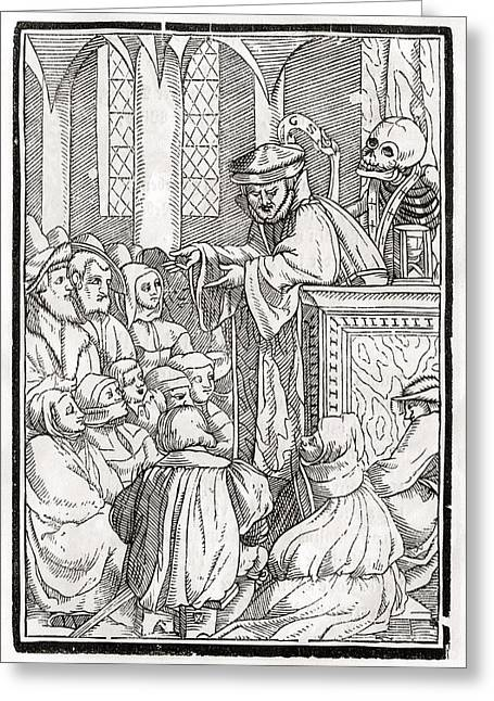 Death Comes For The Preacher Woodcut By Greeting Card by Vintage Design Pics