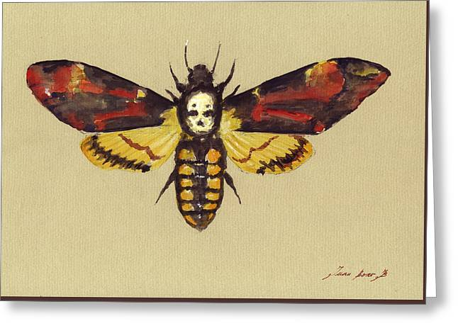 Death Head Hawk Moth Greeting Card by Juan Bosco