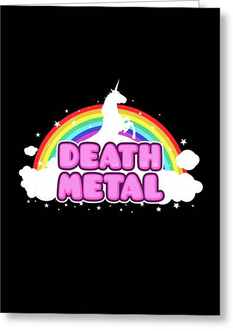 Death Metal Funny Unicorn  Rainbow Mosh Parody Design Greeting Card by Philipp Rietz
