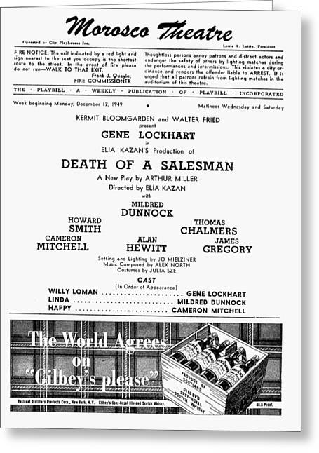 Playbill Greeting Cards - Death Of A Salesman, 1949 Greeting Card by Granger