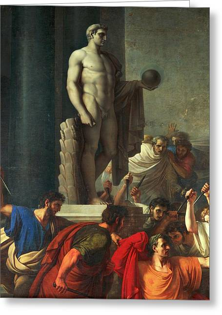 Death Of Caesar, March 15, 44 Bc Greeting Card by Vincenzo Camuccini