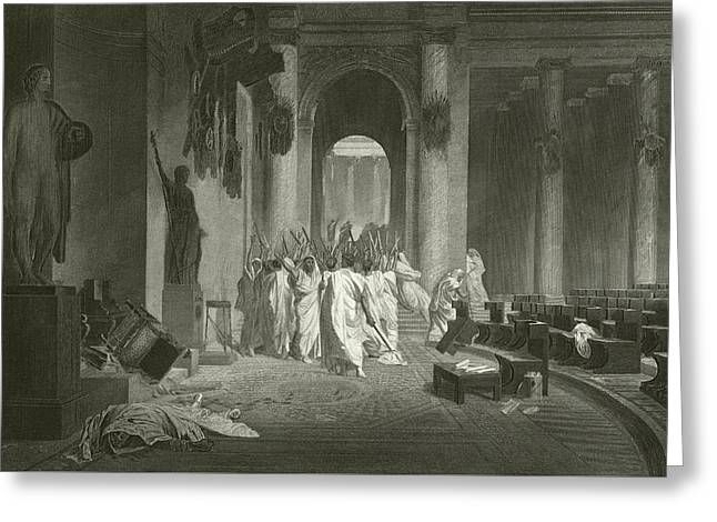 Death Of Julius Caesar, 44 Bc  Greeting Card by Jean Leon Gerome