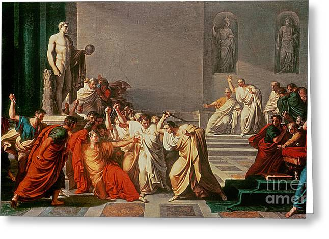 March Paintings Greeting Cards - Death of Julius Caesar Greeting Card by Vincenzo Camuccini