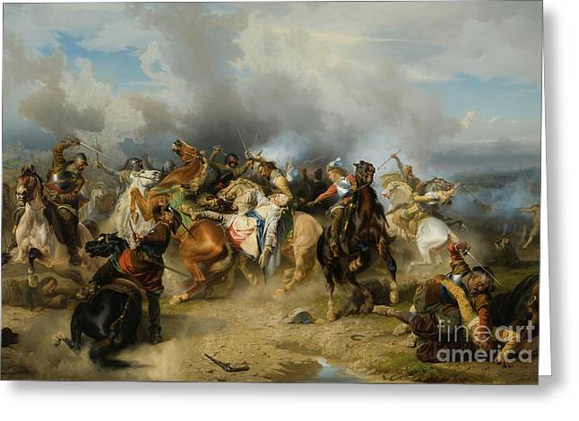Death Of King Gustav II Adolf Of Sweden At The Battle Of Lutzen Greeting Card
