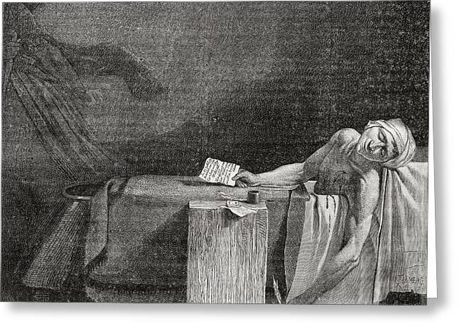 Death Of Marat, 13 July 1793. Jean-paul Greeting Card by Vintage Design Pics