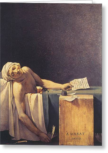 Death Of Marat Greeting Card by Jacques Louis David