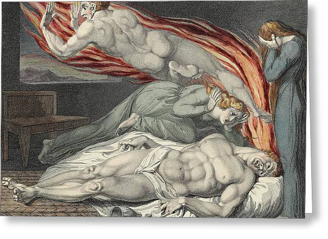 Death Of The Strong Wicked Man Greeting Card by Sir William Blake