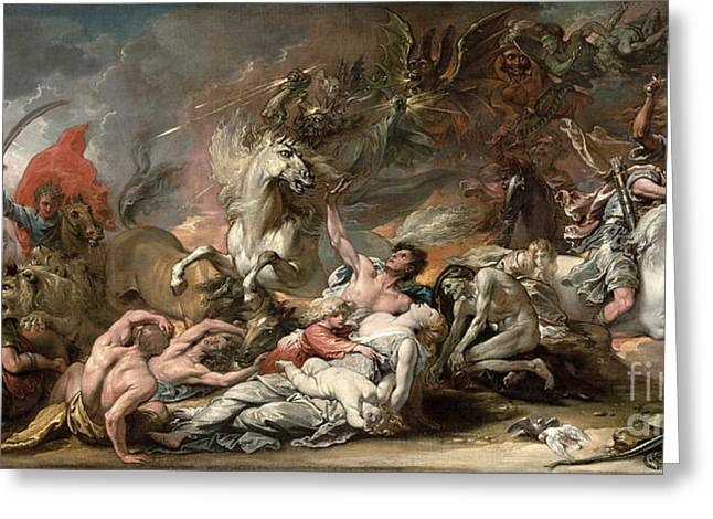 Violent Greeting Cards - Death on the Pale Horse Greeting Card by Benjamin West