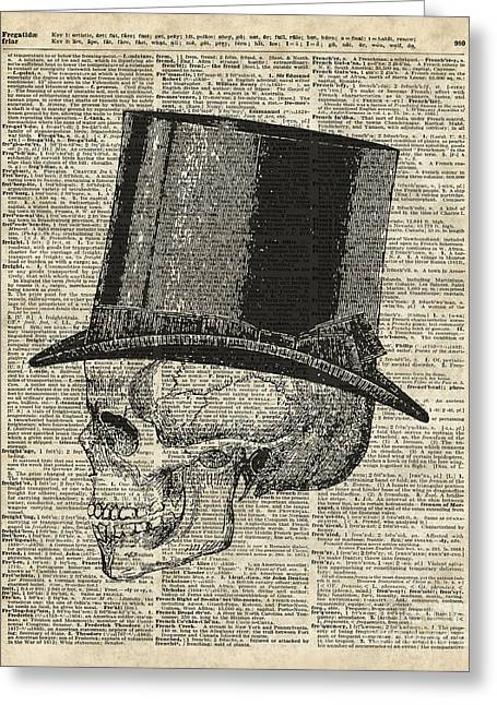 Death Skull With Victorian Hat Greeting Card by Jacob Kuch