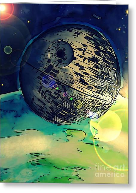 Death Star Illustration  Greeting Card by Justin Moore