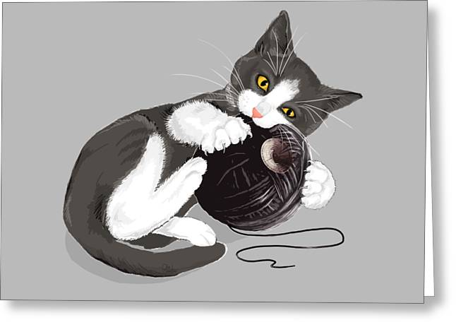 Death Star Kitty Greeting Card by Olga Shvartsur