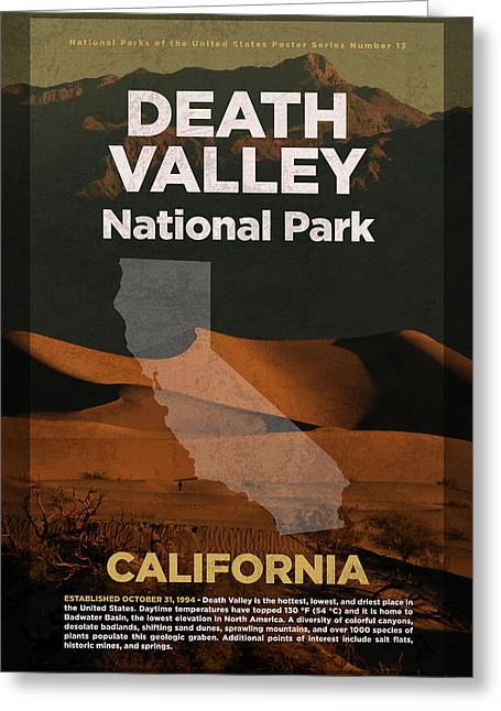 Death Valley National Park In California Travel Poster Series Of National Parks Number 13 Greeting Card by Design Turnpike