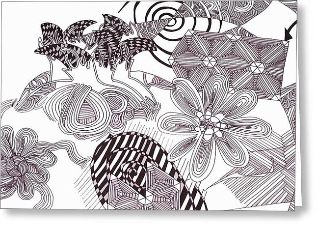 Repetition Drawings Greeting Cards - Deaths Garden Greeting Card by Sarah Bentvelzen