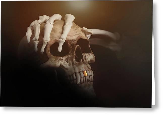 Death's Head Greeting Card by Tom Mc Nemar