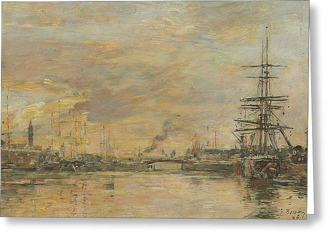 Deauville, The Basin Greeting Card by Eugene Boudin