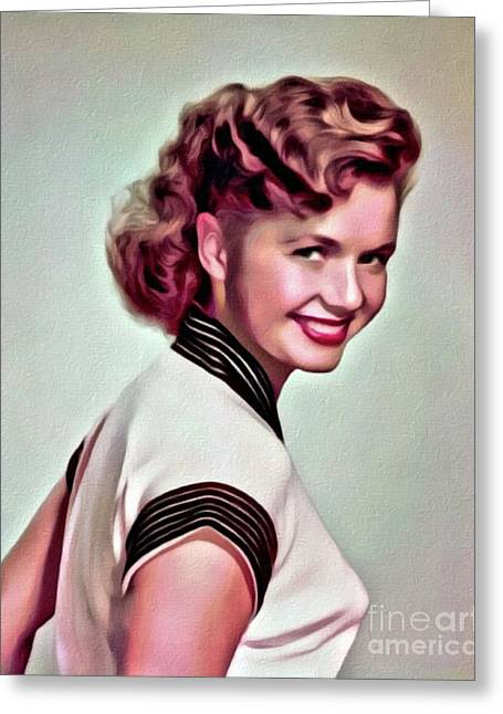 Debbie Reynolds, Hollywood Legend, Digital Art By Mary Bassett Greeting Card by Mary Bassett
