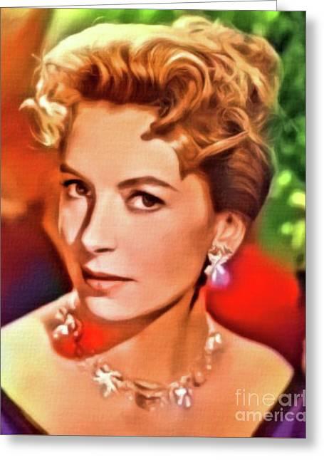 Deborah Kerr, Vintage Actress. Digital Art By Mb Greeting Card by Mary Bassett