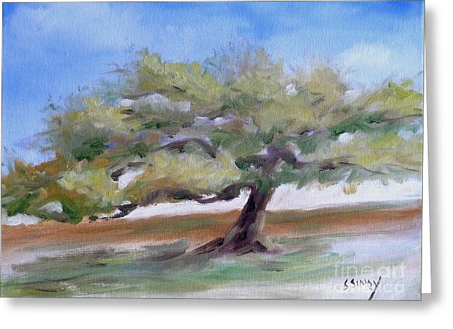 Greeting Card featuring the painting Deborah's Tree by Sally Simon
