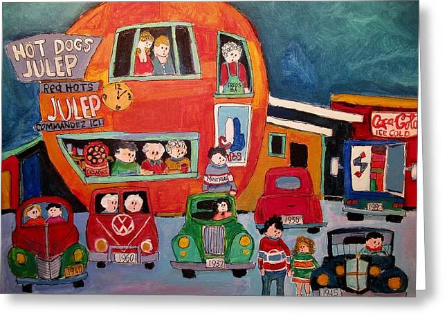 Decades At The Orange Julep Decarie Greeting Card by Michael Litvack