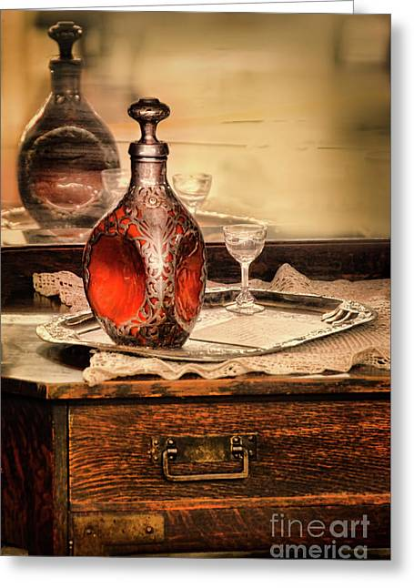 Greeting Card featuring the photograph Decanter And Glass by Jill Battaglia