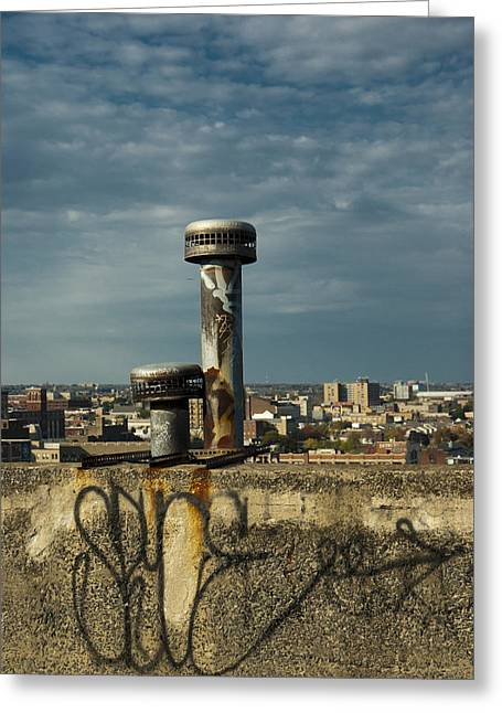 Decaying Skyline Greeting Card by Timothy Hedges