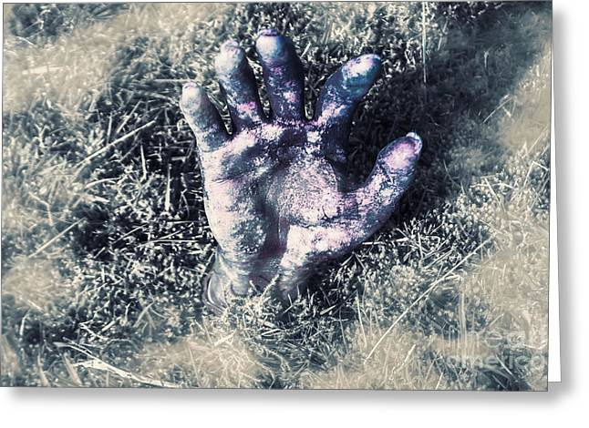 Decaying Zombie Hand Emerging From Ground Greeting Card by Jorgo Photography - Wall Art Gallery