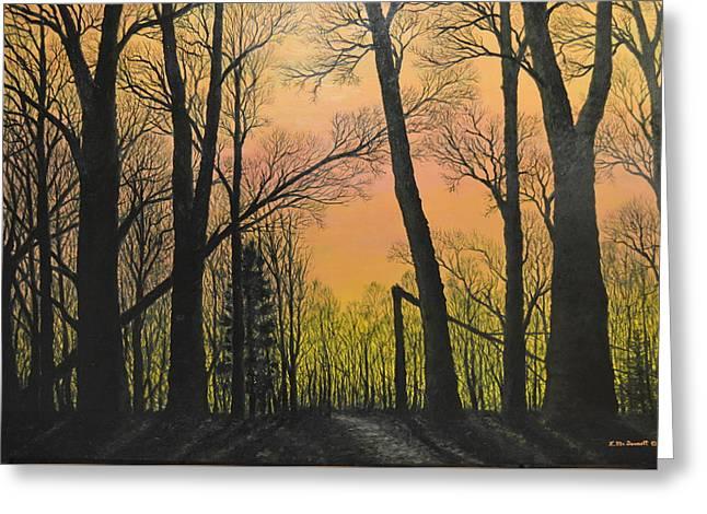December Dusk - Northern Hardwoods Greeting Card by Kathleen McDermott