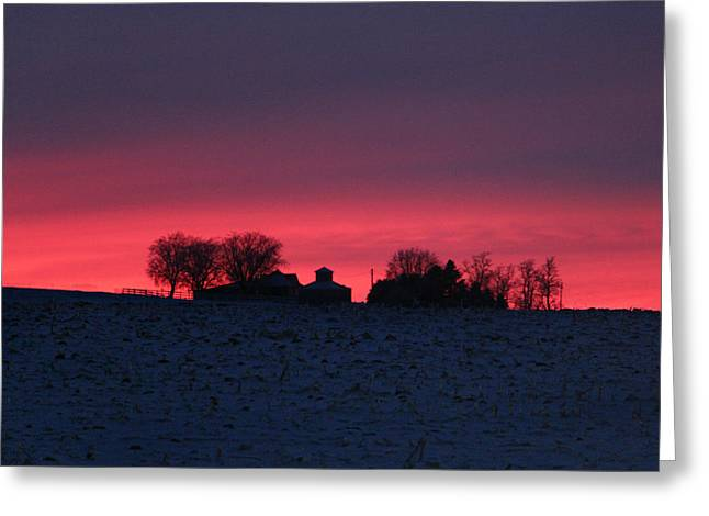 December Farm Sunset Greeting Card by Kathy M Krause