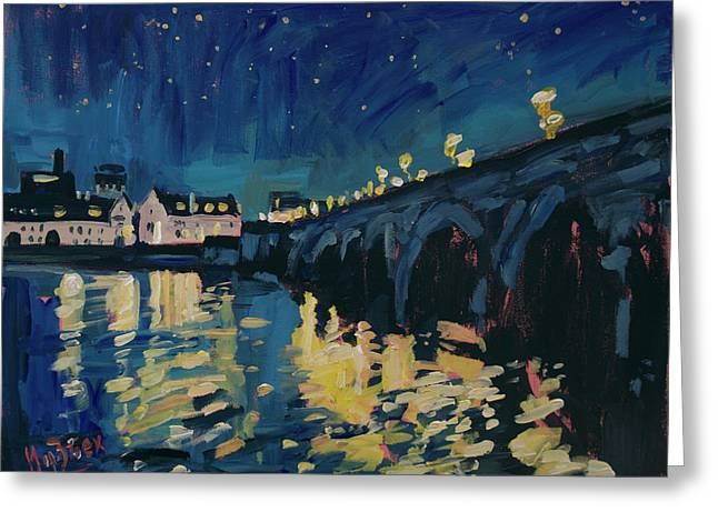 December Lights At The Old Bridge Greeting Card by Nop Briex