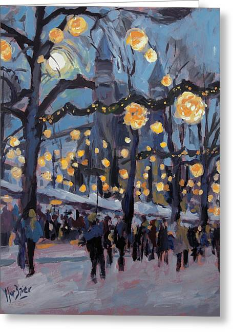 December Lights At The Our Lady Square Maastricht 1 Greeting Card by Nop Briex