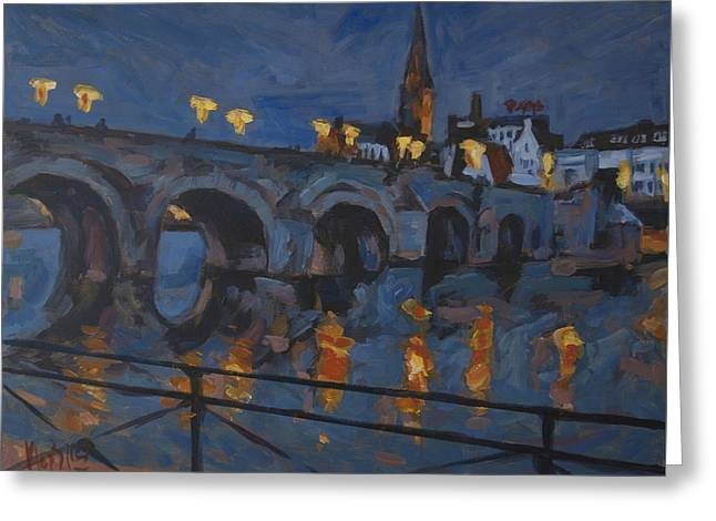 December Lights Old Bridge Maastricht Acryl Greeting Card