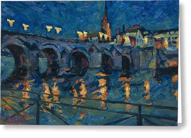 December Lights Old Bridge Maastricht Greeting Card