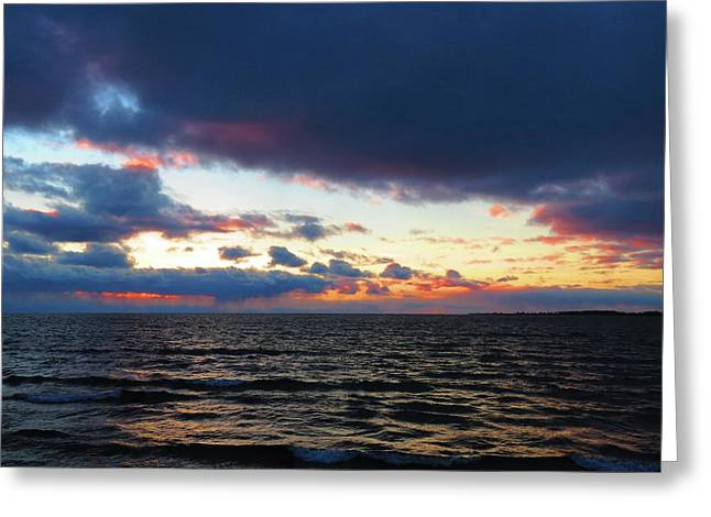 December Sunset, Wolfe Island, Ca. View From Tibbetts Point Lighthouse Greeting Card