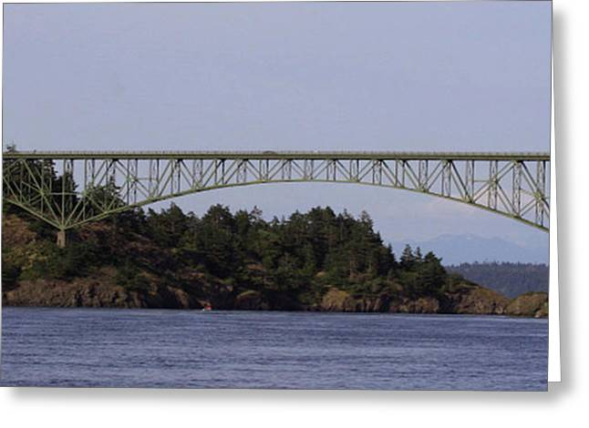 Deception Pass Brige Pano Greeting Card by Mary Gaines
