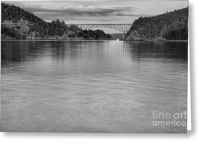 Deception Pass Sunset Black And White Greeting Card