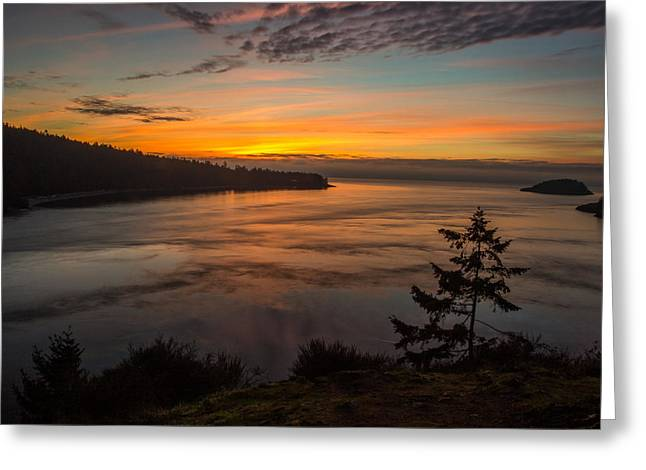 Deception Pass Sunset Greeting Card by Calazone's Flics
