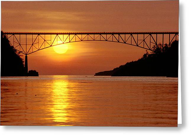 Deception Beach Greeting Cards - Deception Pass Sunset Greeting Card by Kelly Kellogg