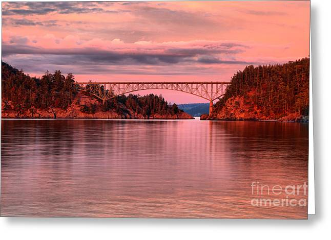 Deception Pass Sunset Reflections Greeting Card by Adam Jewell