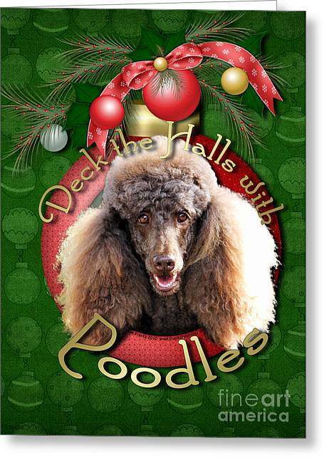 Deck The Halls With Poodles Greeting Card by Renae Laughner