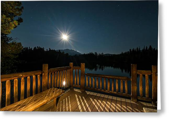 Deck Under Moonlight Greeting Card by Michael J Bauer