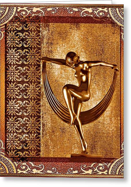 Bronze Mixed Media Greeting Cards - Deco Art Greeting Card by Mary Morawska