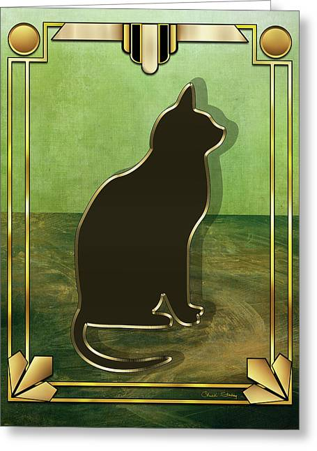 Greeting Card featuring the digital art Deco Cat 1 by Chuck Staley