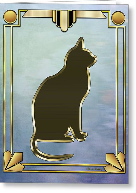 Greeting Card featuring the digital art Deco Cat 2 by Chuck Staley