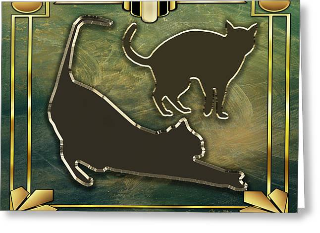 Greeting Card featuring the digital art Deco Cat Stretching by Chuck Staley