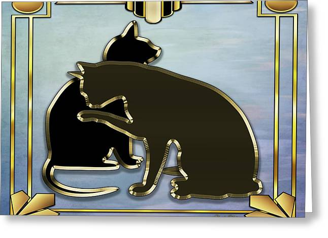 Greeting Card featuring the digital art Deco Cats - Blue by Chuck Staley