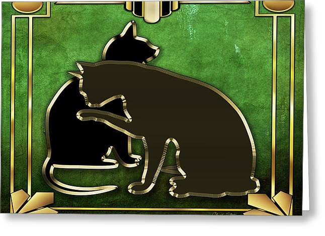 Greeting Card featuring the digital art Deco Cats - Emerald by Chuck Staley