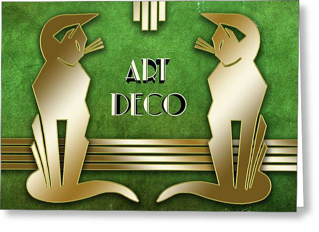 Deco Cats On Green Marble Greeting Card