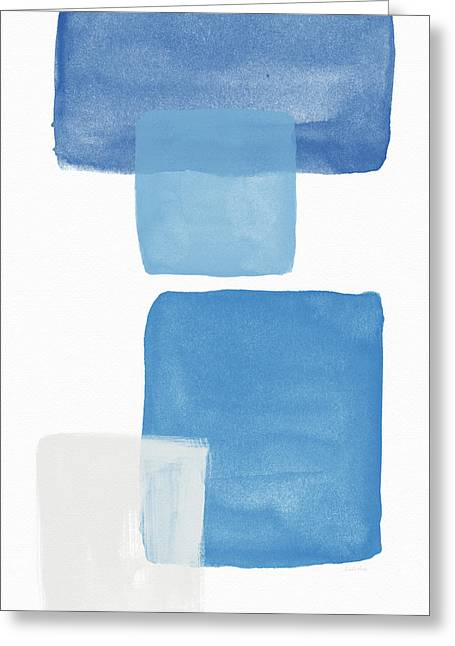 Deconstructed Blue Gingham 1- Art By Linda Woods Greeting Card