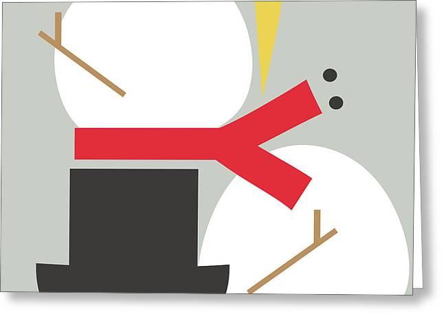 Deconstructed Snowman- Modern Art By Linda Woods Greeting Card
